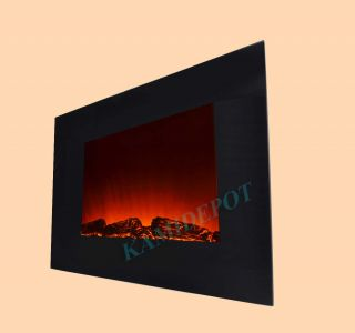 GV Flat Tempered Glass Panel Electric Fireplace Heater 1500W Flame