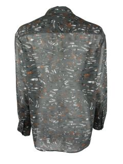 IRO Womens Anthrocite Inna Silk Abstract Print Button Blouse Top $310