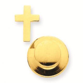 14k Gold Cross Tie Tac Lapel Pin