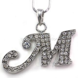Initial M Necklace Chain Clear Stone Crystal Rhinestone Silver Tone