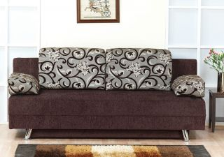 Modern Fabric Storage Sleeper Sofa Bed Futon Couch Dorm