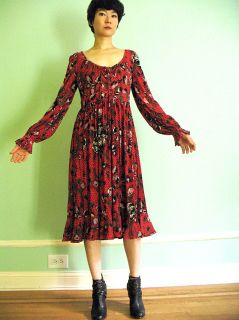 Vtg 70s RARE Ingrid Cado Floral Red Poppy Print Peasant Dress Boho