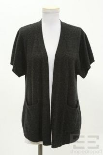 Inhabit Charcoal Grey Cashmere Short Sleeve Open Front Cardigan Size