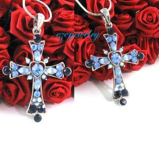Light Blue Heart Cross Crystal Pendant Necklace N180