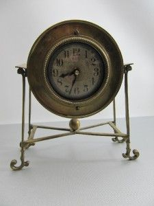 Timeworks Inc by Uttermost Solid Brass Mantel Shelf Clock Vintage