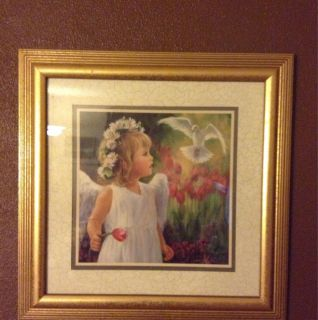 Home Interior Picture Painting of Little Girl Angel and Dove