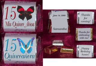 Quinceanera Mis Quince Anos Butterfly Personalized Party Favors Candy