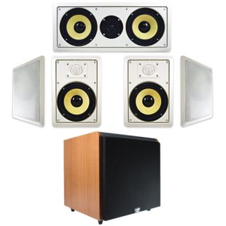 Powered HD Home Subwoofer, Four 8 HD In Wall Speakers, Center Channel