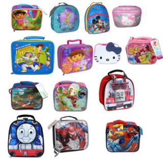 Kids School Insulated Lunch Bag Disney Mickey Princess Cars Tinkerbell