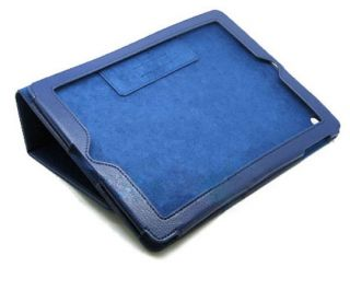 iPad 2 Genuine Leather Smart Cover Stand Case Blue
