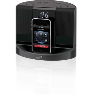 iLive iPhone 4 iPod Dock Charger Dual Alarm Clock Am FM Radio Speaker