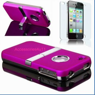 New Stylish Chrome Series Hard Case Cover for iPhone 4 4S Free Screen