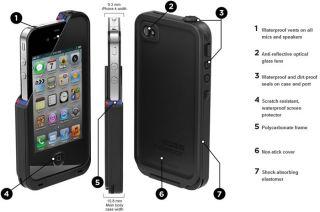 Black Waterproof Case Lifeproof iPhone 4 4S Case Brand New