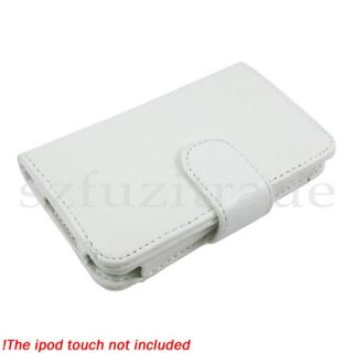 White Wallet Leather Case Pouch Cover for Apple iPod Touch 4 4G 4th