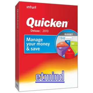 New Intuit Quicken Deluxe 2013 Full Retail Version in Retail Box