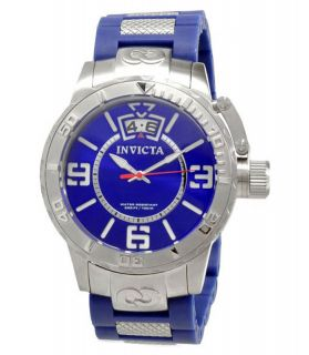 New Mens Invicta 10606 Corduba Blue Dial Rubber Band Swiss Quartz Big