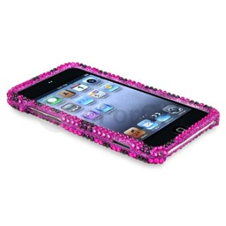 Pink Black Zebra Rhinestone Bling Case Cover for iPod Touch 4th Gen 4G