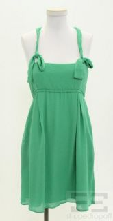 Iro Green Textured Silk Racerback Dress Size 38 New