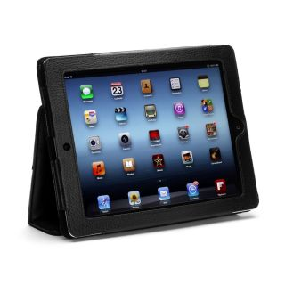 iPad 3 Black Genuine Leather Case Cover with Pockets for Apple iPad 3