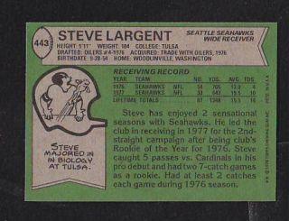 1978 Topps 443 Steve Largent NMT Seattle Seahawks Premium Vintage Card