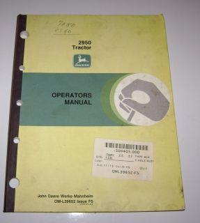 John Deere 2950 Tractor Operators Owners Manual jd OM L39652 Issue F5
