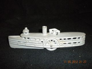 Vintage Gray Cast Iron River Boat with Wheels