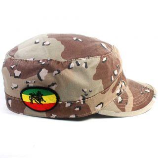 Lion of Judah Camo Army Reggae Cap Hat Military Irie