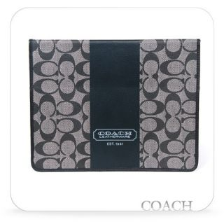 Authentic COACH Heritage Stripe Tablet iPAD Case Black F77261 w/Box