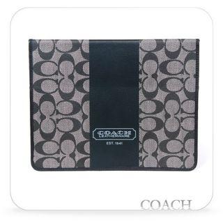 Authentic COACH Heritage Stripe Tablet iPAD Case Black F77261 w/Box