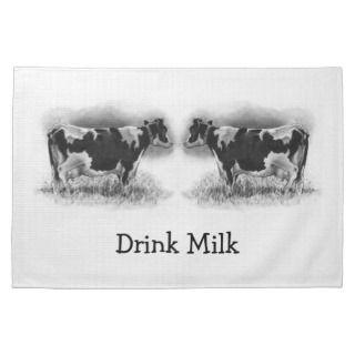Holstein Cows In Pencil Drink Milk Dairy Kitchen Towels