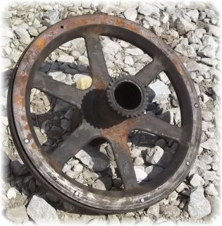 Pulley Vintage Cast Iron Flat Belt Sheave Steam Engine Steampunk b
