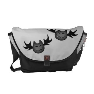 Cute and funny vampire bats on gray messenger bag