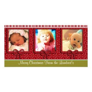 Cute Tiny Snowflakes Stripes Christmas Photo Personalized Photo Card