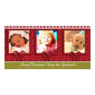Cute Tiny Snowflakes Stripes Christmas Photo Personalized Photo Card