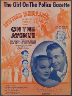 Girl on The Police Gazette Irving Berlin on The Avenue