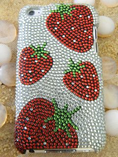 Silver Bling Rhinestones Hard Cover Case iPod Touch 4th Gen 4G