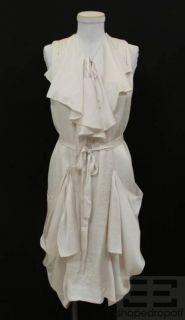 Isabel Marant Pearl White Ruffle Sleeveless Belted Dress