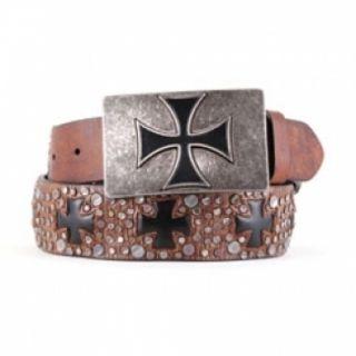 Ariat Mens Brown Belt w Iron Cross Buckle
