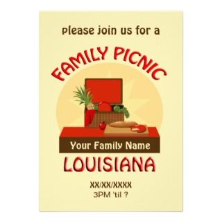 Louisiana Family Picnic Reunion Invite