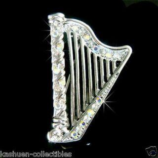 Swarovski Crystal Irish Bridal Wedding Celtic Harp Music Musical Pin
