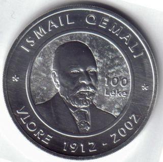 Albania 2002 Silver 100 Leke Ismail Qemali Proof
