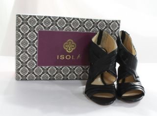 Isola New Womens Black Leather Heels Size 6 Strappy Peep Toe Shoes $