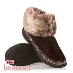 Isotoner Suedette Bootie Womens Slippers Brown