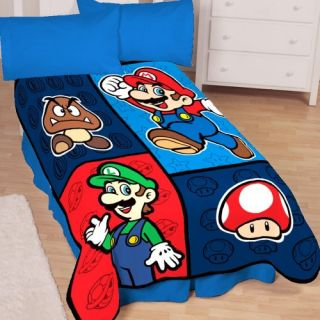 New Nintendo Super Mario Bros 50 by 60 inch Throw Blanket Free