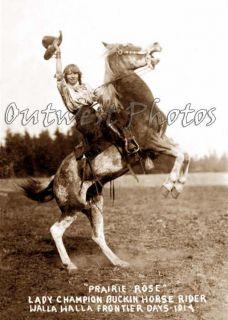RODEO ROUND UP COWGIRL PRAIRIE ROSE HENDERSON BUCKING HORSE PHOTO
