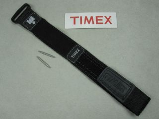 Timex Ironman Watch Band Strap Black 20mm Nylon Weave and Velcro