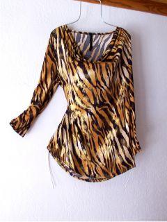 New Tiger Stripe Animal Print Black Gold Metallic Blouse Shirt Top 8