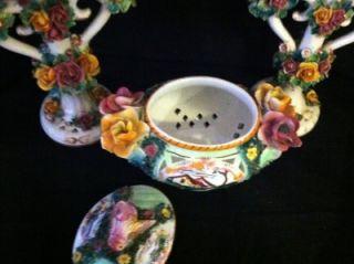 Antique Italian Capodimonte Majolica Pottery Candlesticks and