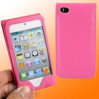 HOT PINK LEATHER CASE SCREEN SAVERS FOR IPOD TOUCH iTouch 4G 4th Gen