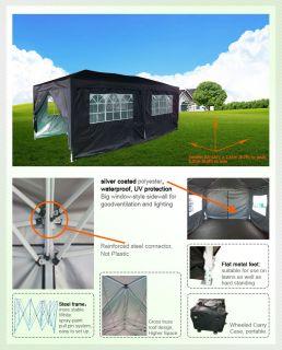 10x20 EZ Pop Up Party Tent Canopy Gazebo Shelter Black